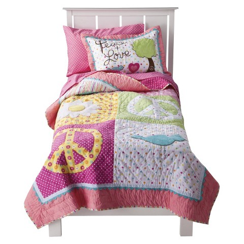 Circo® Peace Girl Quilt Set - Pink