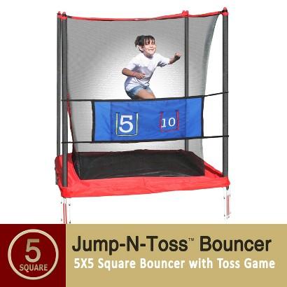 Skywalker Kids Trampoline Jump-n-Toss with Enclosure - 5x5 Square