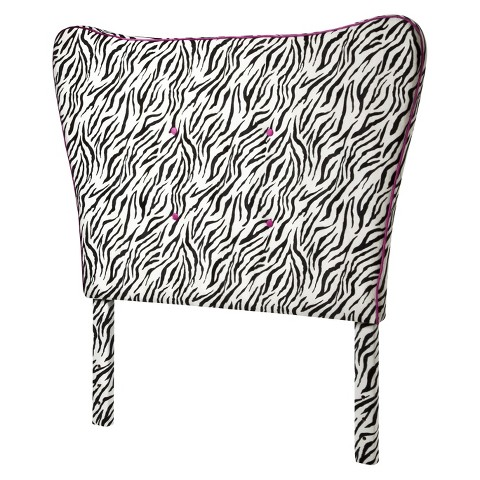 Zebra Headboard with Pink Piping - HomePop