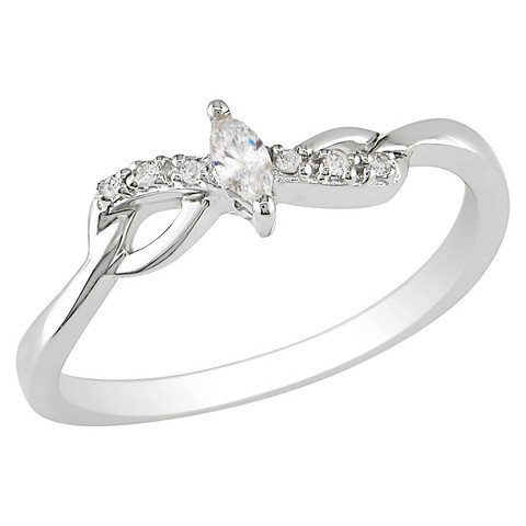 0.1 CT.T.W. Marquise Diamond Ring in 10K White Gold