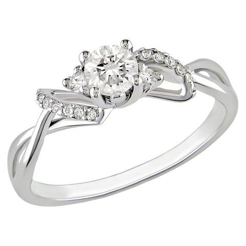 10K White Gold Diamond Fashn Ring Silver