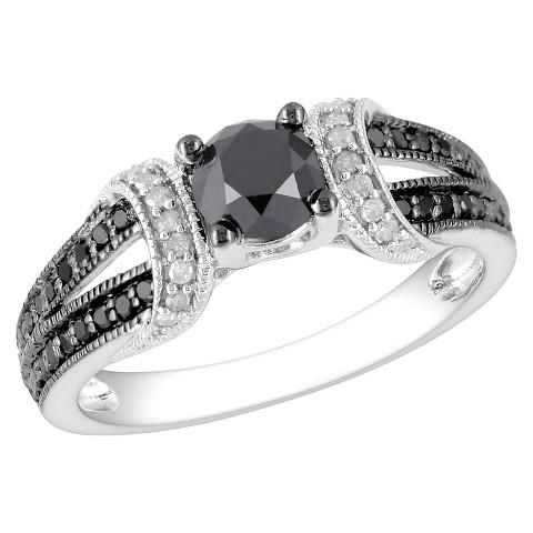 1ct Black & White Dia Fashion Ring