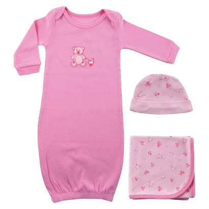 Luvable Friends™ Newborn Girls' Gown, Blanket and Cap Set - Pink Preemie