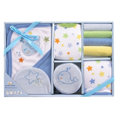 Luvable Friends™ Newborn Boys' 9 Piece Bath Time Set - Blue 0-6 M