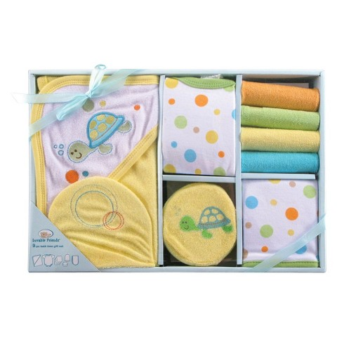 Luvable Friends™ Newborn 9 Piece Bath Time set - Neutral 0-6 M