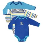 Luvable Friends Newborn Boys' 3 Pack Long-sleeve Bodysuit Set - Blue