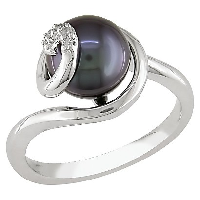 0.02 CT. T.W. Diamond & Freshwater Pearl Ring black in Sterling Silver