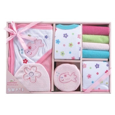 Luvable Friends™ Newborn Girls' 9 Piece Bath Time set - Pink 0-6 M