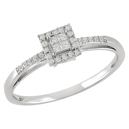 0.2 CT.T.W. Princess-Cut Diamond Ring in 10K White Gold