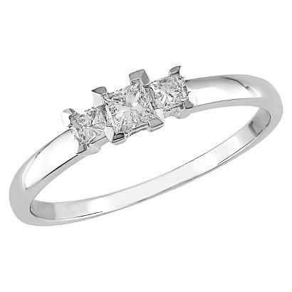 10K White Gold Diamond 3 Stone Ring Silver