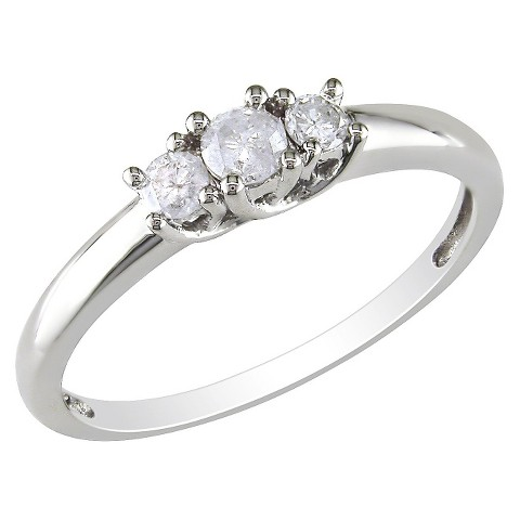 10K White Gold Diamond 3 Stone Ring Silver