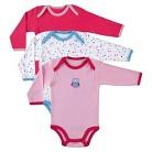Luvable Friends Newborn Girls' 3 Pack Long-sleeve Bodysuit