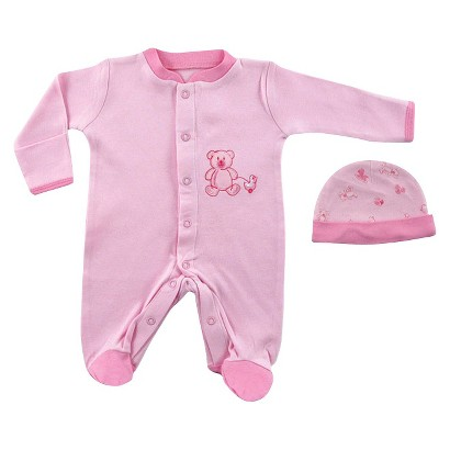 Luvable Friends™ Newborn Girls' Sleep N' Play and Cap Set - Pink Preemie