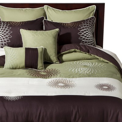 Medallion Embroidered 8 Piece Bedding Set - Green/Brown
