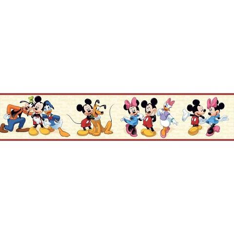 Mickey & Friends Wallpaper Border - Cream/Red