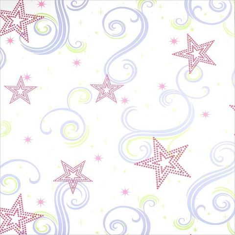 Star Glitter Wallpaper - White/Pink/Purple