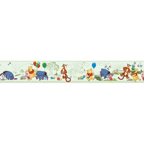 Pooh and Friends Toile Wallpaper Border - Green