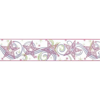 Star Glitter Wallpaper Border - White/Pink/Purple