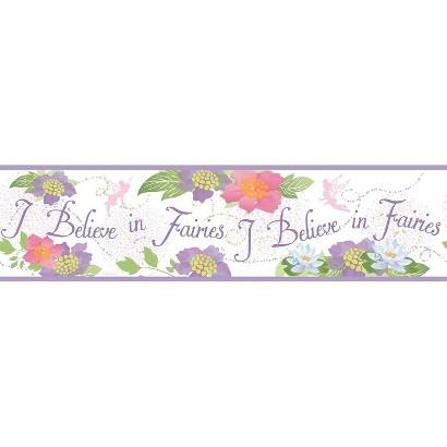 Believe In Fairies Wallpaper Border - White