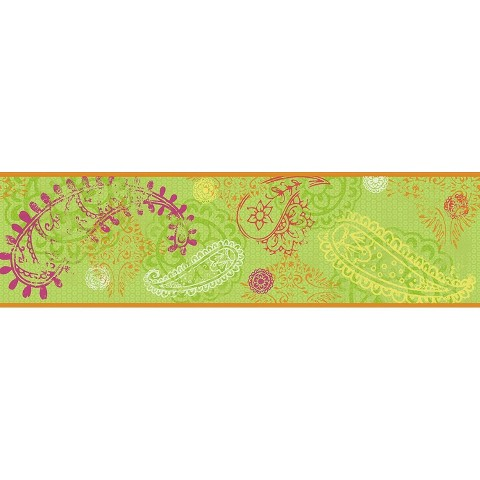 Paisley Wallpaper Border - Lime