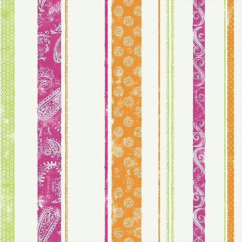 Paisley Stripe Wallpaper - Pink/Green/Orange