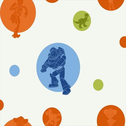 Toy Story Circles Wallpaper - White/Orange/Blue