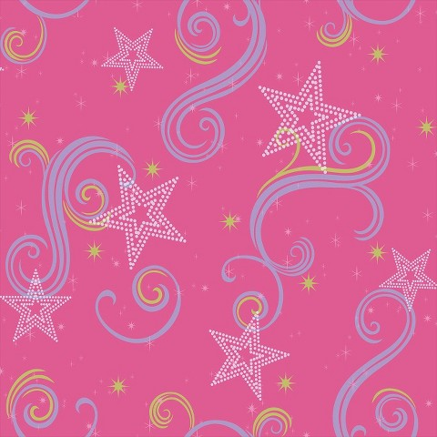 Star Glitter Wallpaper - Pink/Purple/Green