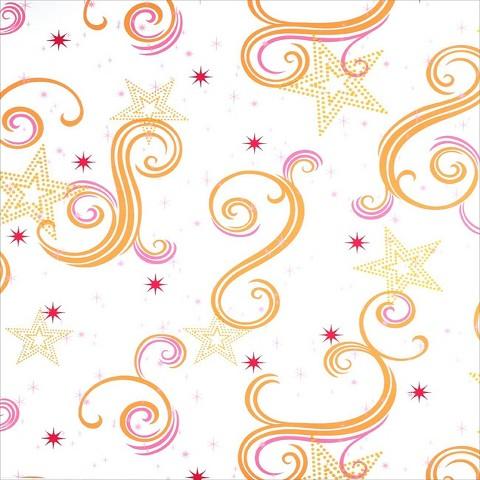 Star Glitter Wallpaper - White/Pink/Orange