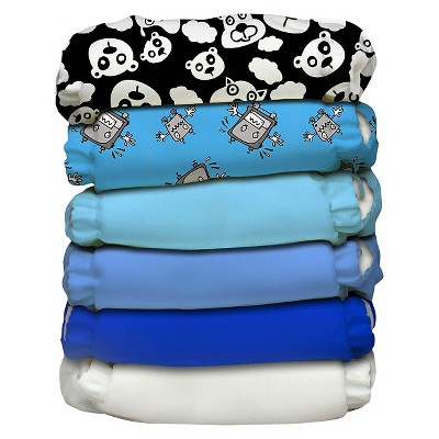 Charlie Banana Reusable Diaper 6 pack One Size - Boy Multicolored