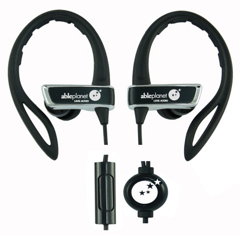 Able Planet True Fidelity Black Sport Earphones with Microphone