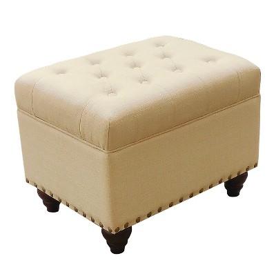 Tufted Storage Ottoman Bench with Nailhead - Soft Ivory - Threshold™