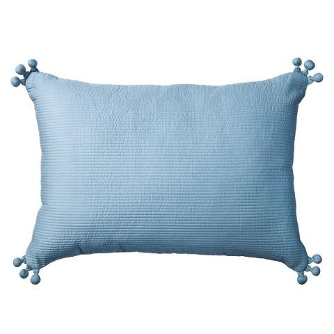 Boho Boutique™ Pom Pom Embellished Pillow - Teal