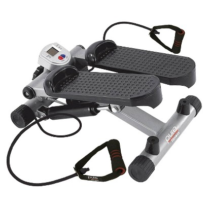 Pure Fitness Mini Stepper with Stretch Cords - Black/Silver