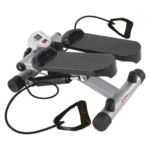 Pure Fitness Mini Stepper with Stretch Cords - Black/Silver
