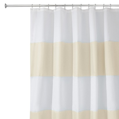 "InterDesign Zeno Shower Curtain - Sand/White (72x72"")"