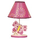 Bedtime Originals Pink Butterfly Lamp & Shade