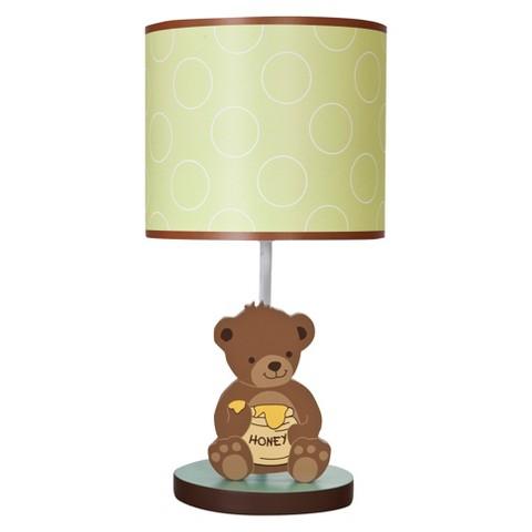 Bedtime Originals Green-yellow brown Honey Bear Lamp w/Shade & Bulb