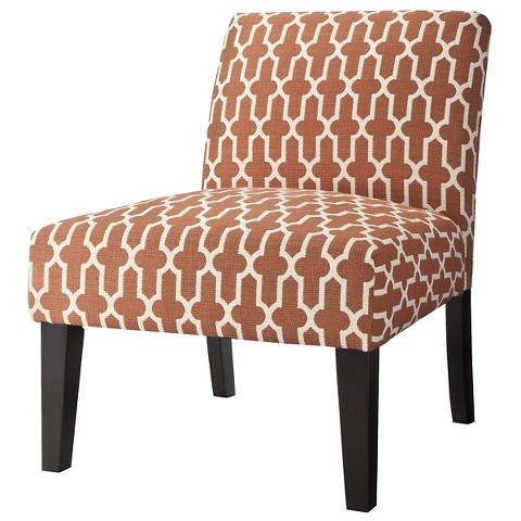 Avington Upholstered Slipper Chair - Orange Trellis