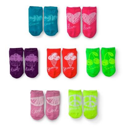 Xhilaration® Girls 7-Pack Print No-Show Socks - Multicolor