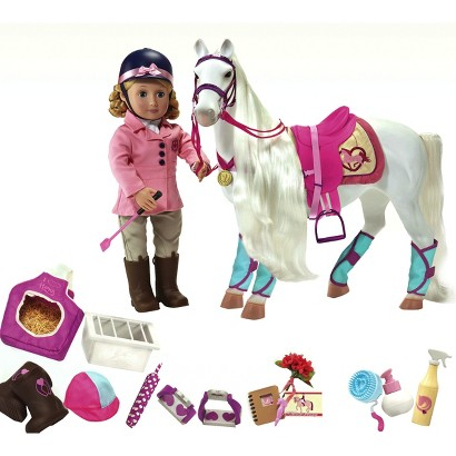"Our Generation ""I Think I Canter"" Bundle Includes  18"" Doll, Horse, & Riding Accessories"