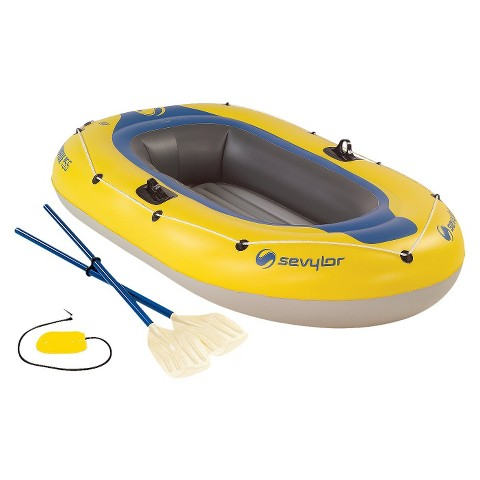"Sevylor Yellow/Blue Caravelle 2 w/ Oars and Pump  - 77"" x 44"" x 12.5"""