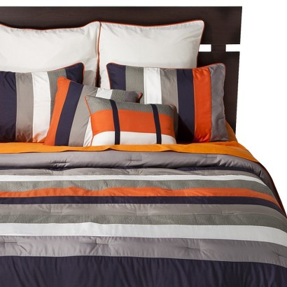 Striped 8 Piece Bedding Set - Navy/Orange (Queen)
