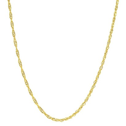 "Gold Plated Singapore Chain Necklace - 18"" with 2"" Extension"