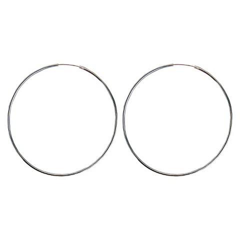 Sterling Silver Plated Large Hoop Earrings