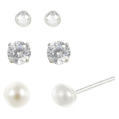 Sterling Silver Plated Trio Ball Earrings