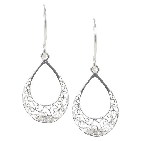 Sterling Silver Plated Open Filigree Drop Earrings