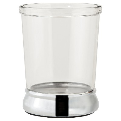 InterDesign Gina Chrome Ribbed Tumbler - Clear
