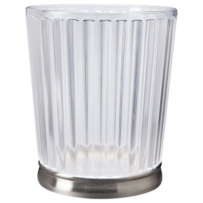 InterDesign Gina Nickel Ribbed Frost Wastecan - Clear