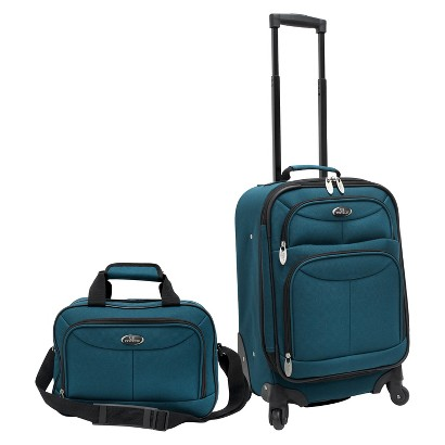 U.S. Traveler 2 Piece Carry-On Spinner Luggage Set (Teal)