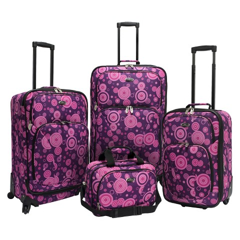 U.S. Traveler 4 Piece Polk Dot Fashion Spinner Luggage Set (Purple)